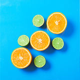 Concept of fresh fruit background of orange and lime Stock Photo