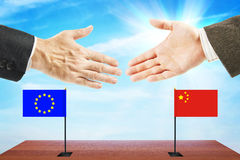 Concept of friendly relations between European Union and China Stock Photos