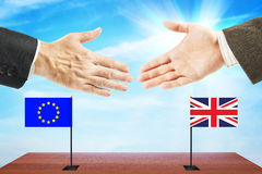 Concept of friendly relations between European Union and Great Britain Royalty Free Stock Photo