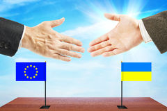 Concept of friendly relations between Ukraine and European Union Stock Photography