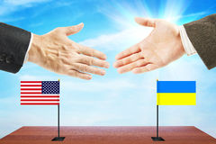 Concept of friendly relations between Ukraine and United States Stock Photo
