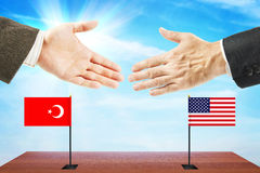Concept of friendly talks between United States and Turkey Stock Photography