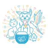 Concept of friendship of domestic. Animals in the form of a cat, a dog, a parrot, a hamster sitting next to each other. icon in the linear style Royalty Free Stock Photos