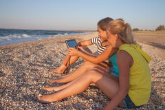 Concept of friendship, fun in the summer Stock Photography