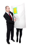 Concept in front of white: Businessman get a shipment Royalty Free Stock Photos