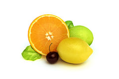 Concept fruit melody. Of an orange, lemon, lime, and cherry, 3d model 300 D.P.I  on a white background Royalty Free Stock Photo