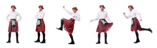 The concept with funny scotsman isolated on white Stock Photography