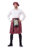 Concept with funny scotsman  on white Royalty Free Stock Image