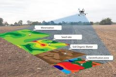 Concept futé d'agriculture, infrarouge d'utilisation d'agriculteur dans le bourdon avec le hig images libres de droits