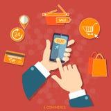 Concept futé de vecteur de commerce électronique de téléphone d'achats mobiles Photos stock