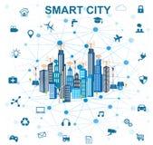 Concept futé de ville et Internet des choses illustration de vecteur