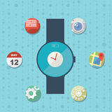 Concept futé plat de montre avec des icônes Photographie stock libre de droits