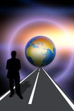 Concept of future. Abstract concept of the future with a shadow of a man on the endless road Stock Photo
