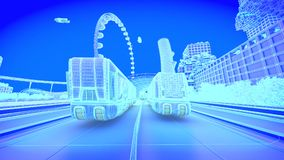 Concept future city skyline. Futuristic business vision concept. 3d illustration. Blue image Stock Image