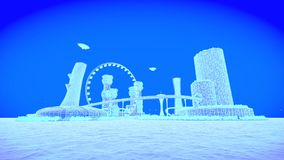 Concept future city skyline. Futuristic business vision concept. 3d illustration. Blue image Stock Photography