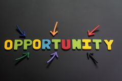 Concept of future opportunity in career path, job or work journey, colorful arrows pointing to the word OPPORTUNITY at the center. On black chalkboard royalty free stock image