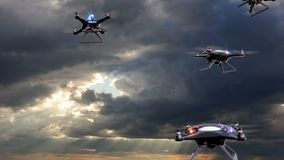Concept of the future. Police drones take off