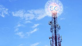 Concept of future technology 5G network wireless network that will control everything through electronic devices or have a short