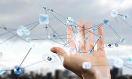 Concept futuriste de connexion sans fil Media mélangé Photos libres de droits