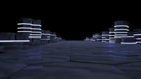 Concept futuriste de pièce de serveur dans le datacenter Le grand stockage de données, serveur étire avec les lampes au néon sur  Photo libre de droits