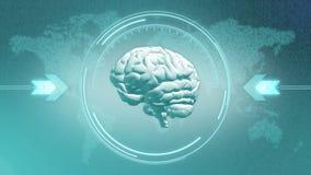 Concept futuriste de steampunk de cerveau dans l'affichage de HUD Photographie stock libre de droits