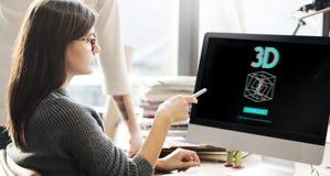 concept futuriste graphique d'illusion de la créativité 3D Photo stock