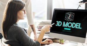 concept futuriste graphique d'illusion de la créativité 3D Image stock