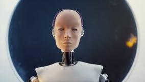 Concept futuristisch sc.i-FI van het humanoid vrouwelijk portret in de stijl van metaal en dradenachtergrond royalty-vrije illustratie