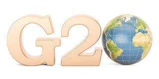Concept G20 Inscription d'or avec le globe de la terre, rendu 3D Images stock