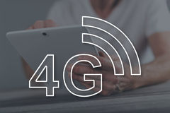 Concept of 4g network. 4g network concept illustrated by a picture on background Royalty Free Stock Photos