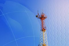 Concept 5G smart mobile telephone radio network antenna base station on the telecommunication mast radiating signal.  stock illustration