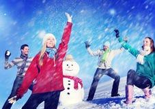 Concept gai d'amitié d'hiver de vacances de personnes de Noël Photos stock