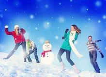 Concept gai d'amitié d'hiver de vacances de personnes de Noël Image stock