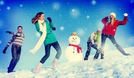 Concept gai d'amitié d'hiver de vacances de personnes de Noël Photographie stock libre de droits