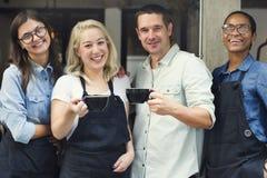 Concept gai de collègue occasionnel de café de coupure Photos libres de droits