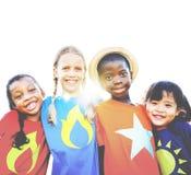 Concept gai espiègle d'amitié de diversité de bonheur d'enfants Images stock