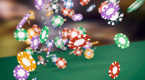 Concept of gambling. Lot of fiches falling on a green table, concept of gambling (3d render vector illustration