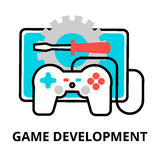 Concept of game development icon. Modern flat editable line design vector illustration, concept of game development icon, for graphic and web design Royalty Free Stock Photos