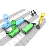 Concept of gantt chart. A team completes tasks. The flagman symbolizes the project deadline Royalty Free Stock Photo