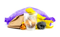 Concept of garbage and pollution. A pile of trash, crumpled plastic cup, packages, paper isolate on a white background.  stock image