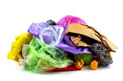 Concept of garbage and pollution. A pile of trash, crumpled plastic cup, packages, paper isolate on a white background.  stock images