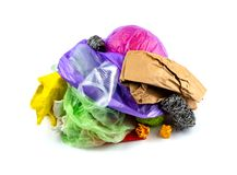Concept of garbage and pollution. A pile of trash, crumpled plastic cup, packages, paper isolate on a white background.  royalty free stock image