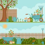 Concept of gardening. Garden tools.  Banner with summer garden l Stock Images