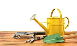 Concept of gardening. Gardening tools (Watering can, shovel, rak Stock Photography