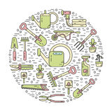 Concept of gardening. Vector modern line style color icons concept of garden work tools. Secateurs, watering can, shovel, rake, garden cart, garden hose, fork Royalty Free Stock Image