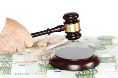 Concept with gavel and money Stock Photos
