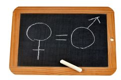 Concept of gender equality with a school slate stock image