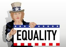 Uncle Sam under feminine traits, holds a sign to denounce the inequality between men and women. vector illustration