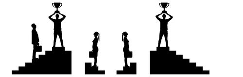Concept of gender inequality and discrimination. Vector silhouette of a male winner with a trophy on the career ladder against the background of a women who has Royalty Free Stock Images