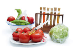 Concept on the genetic manipulation of food. Vegetables  on white background Stock Photos